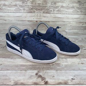 Puma Blue Leather Low Top Lace Up Shoes US 7